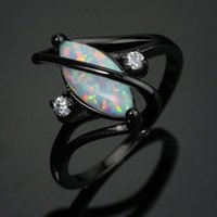 Wholesale Marquise Wedding Sets - Black Gold Plated Crossed Marquise Fire Opal Ring With AAA Cubic Zircon Best Gift Wedding Ring BR010 White Opalc