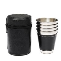 Wholesale Wrap Flask - Wholesale- 4PCS 70ml Mini Stainless Steel Wine Alcohol Leather Wrap Cup Mug Hip Flask Water Bottle Outdoor Travel Drinkware Kettle
