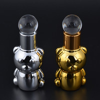 Wholesale Perfume Bear - Wholesale- MUB 8ML UV BEAR shape Mini Cute Portable Glass Oil Perfume Bottle With Drop&empty cosmetic containers portable bottle
