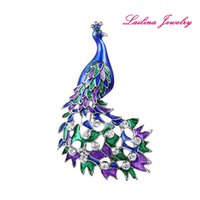 Wholesale Indian Peacock Brooch - Lailina Jewelry New Silver-Tone Crystal Enamel Cocky Peacock Bird Brooch Pins Rhinestone Amazing Animal Brooches Jewelry