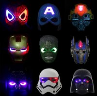 Wholesale Child Halloween LED Glowing Superhero Mask Avengers Marvel Spiderman Ironman Captain America Hulk Batman Movie Cartoon Party Mask Christmas