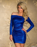 Wholesale Sexy Club Dresses Metallic - Fashion Blue Red Black Silver Purple Women Sexy Metallic Print Dress Vestidos Slash Neck Bodycon Short Dress Night Clubwear
