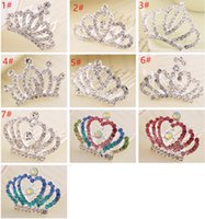 Wholesale Colorful Crowns - Colorful Rhinestone Baby Tiaras Crystal Hair Crown Children Kids Hair Jewelry Tiaras Comb Hair Accessories for party