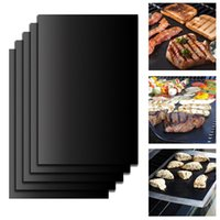 Wholesale Outdoor Grill Kitchens - Teflon non-stick reusable BBQ Grill Mats sheet baking mat for barbecue grill sheet cooking Outdoor BBQ Accessories 40*33CM