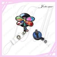 Wholesale Dragonfly Painting - Colorful Painted Patchwork Retractable Badge Reel  ID Badge Holder   Brooch   Pendant   Id Badge Holder (Dragonfly Patchwork Reel)