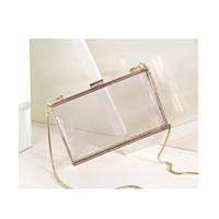 Wholesale Selling Transparent Bag - Hot Selling Fashion Women Ladies Transparent Clear See Through Box Shoulder Bag Clutch Bags Acrylic Evening Handbag Cross-Body Purse Bag