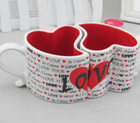 Wholesale Love Couple Cups - Wholesale- Love you Couples Cup Love ceramic cup Loving couple on the cup Creative heart-shaped cups nice Letters