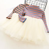 Wholesale Girl Knit Dress Stripe - Everweekend Girls Knitted Tutu Stripes Dress Ruffles Princess Autumn Long Sleeve Party Dress Candy Color Sweet Children Dress