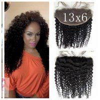 Wholesale Deep Wave Lace Frontals - 13x6 Deep Curly Full Frontal Lace Closure With Baby Hair Malaysian Virgin Hair Deep Wave Lace Frontals With Baby Hair G-EASY