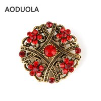 Wholesale Brooch Tips For Collar - Wholesale- Gold Plated Flower Brooch with Red Rhinestone Brooches For Female Pins For Wedding Women Scarf Clip Collar Tips Bouquet