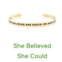 Wholesale Men Bracelet Silver Engraved - 10 PCS Gold Stainless Steel Bar Engraved SHE BELIEVE SHE COULD Positive Inspirational Quote Cuff Bracelet Bangle For women Men