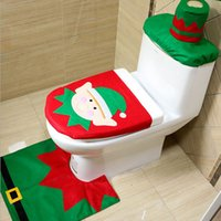 Wholesale Cartoon Toilet Paper - Christmas Decorations Delivers Santa Toilet Seat Cover Paper Towel Set &Rug Bathroom Set Christmas Decorations For Home