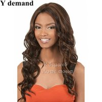 Wholesale Top Kanekalon Hair - Fashion New Long Wavy Haircuts Dark Brown Kanekalon Top Quality African American Women Wig Hair For Women In Stock