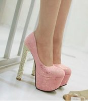 Wholesale Hot Club Heels - Wholesale New Arrival Hot Sale Specials Super Fashion Knight Light Sweety Club Round Head Single Formal Party Platform Heels Shoes EU34-43