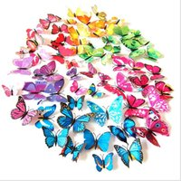 Wholesale Three Dimensional Wall Butterflies - 2017 new Wholesale 12pcs bag color single layer butterfly magnet fridge sticker Home background corridor three-dimensional 3D Sticker Decor