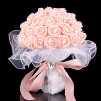 Wholesale Artifical Bouquet Flowers - 2017 Bouquet De Mariage Wedding Bouquet Handmade Flowers Wedding Bouquets Purple Pink Beige Ivory Rose Artifical Bridal Bridesmaid Bouquets