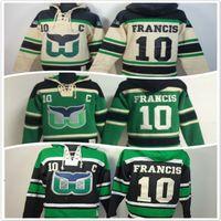 bej hoodies sweatshirts toptan satış-Hartford Whaler hoodies 10 Ron Francis Buz Hokeyi Hoody Tişörtü bej yeşil