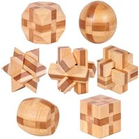 Wholesale D Eco friendly bamboo IQ jigsaw brain teaser adults puzzle educational wooden toys for kids