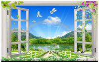 ingrosso carta vendicatori-High-end personalizzato 3d foto carta da parati murales carta da parati Natura Paesaggio 3D Finestra 3d soggiorno sfondo muro decorazione della casa