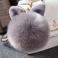 Wholesale Ship Bottle Charm - Fur Pom Pom Keychain Fake Rabbit fur ball key chain Bag Charms bunny keychain Keyring free shipping