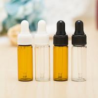 mini botellas de aceite esencial al por mayor-5 ML Mini Amber Glass Botellas cuentagotas de aceite esencial Recargable Vacío cuentagotas Perfume Cosmético Loción líquida Contenedor de almacenamiento de muestras