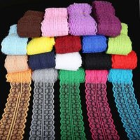 Wholesale Sewing Fabric Wholesalers - 5yards lot 19 Colors Lace Ribbon Tape 45MM Lace Trim Fabric DIY Embroidered Net White Lace Trim Cord For Sewing Decoration