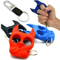 Wholesale Brutus Bulldog Head Survival Keychain self defense Brass knuckle dusters Portable Plastic Iron Fist Windows Broken Duron Drill Finger Ring