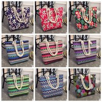 Wholesale large shopper - Girl Casual Summer Canvas Shopper Shoulder Bag Striped Beach Bags Large Capacity Tote Women Ladies Casual Shopping Handbag Bolsa KKA2662