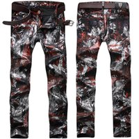Wholesale Cool Trousers For Men - Male Elastic stamp feet cowboy trousers spring winter fashion Europe Street special pants show for student cool boy performance Trend youth