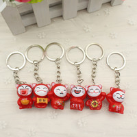 Wholesale Mini Cat Charm - .Lovely Cartoon Maneki Neko Lucky Cat mini plastic Toy Keychain For Children's Gift Purse Charms Pendant WD097