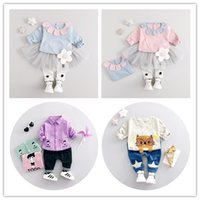 Wholesale Long Style Blouse Patterns - Baby cute cat cartoon pattern children suit blouse and pants kids clothes 1-3years cotton material baby dress sets free shipping