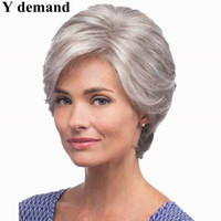 Wholesale Lace Wigs Afro Straight - Fashion Short Silver Grey Afro Wig Straight Synthetic BOB Wigs Natural Hair for Old Women None Lace Hairstyle In Stock