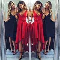 Wholesale Simple Evening Dresses Designs - Cheapest Simple Design Prom Evening Dresses 2017 A Line V Neck High Low Pleats with Sash Party Occasion Homecoming Gowns