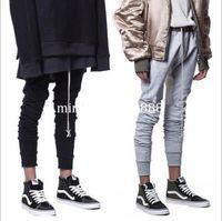 Wholesale latex clothes men - streetwear black grey latex leggings men track harem drawstring pants urban clothing kanye west fog skinny sweatpants joggers