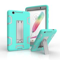 Wholesale Ship Skin China - 3 in 1 Shockproof Kickstand Defender Armor Case PC Silicone Hybrid Robot Protect Screen Protector Cover Cases for iPad LG DHL Free Shipping