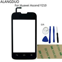 All'ingrosso- ALANGDUO originale per Huawei Y210 Touchscreen Digitizer Sensore Glass Replacement Touchscreen Finestra anteriore Cavo Flex