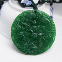 Wholesale Jade Dragon Sculptures - Manual sculpture, natural Burma jade Talisman necklace pendant with a dragon