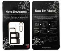 Wholesale Iphone Black Sim Card Tray - 2017 Noosy Nano Sim Card Adapters Micro Converter 4 in 1 Set Kit Eject Pin Pick for Cell Phone Android iPhone 4 5 6 7 Black White Retail Box