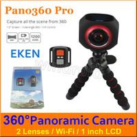 "Wholesale Degree Super Wide Angle - EKEN Pano360 pro 4K Wifi Action Cam panoramic camera 360 Degree1"" LCD 2*220 Degree Super wide angle Sports DV + Remote Control Free DHL 2pcs"