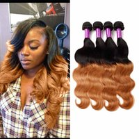 Peruvian Ombre Hair Weave Extensions Cheap 1b / 30 Blonde Ombre Virgin Human Hair 4 Bundles Two Tone Body Wave Hair Vendors