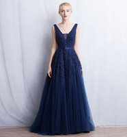 Wholesale Simple Pink Dark Silver Blue Evening Dress A Line V neck Back Opened Long Dress With Applique And Pearls Evening Dresses