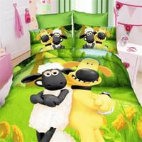 Wholesale Cotton Duvet Covers Single - Wholesale- New Children Boy 3d sheep boys bedding set of twin single size duvet cover bed sheet pillow case 2 3pcs bed linen set