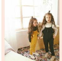 Wholesale Girls Black Pants Suspenders - Children suspender pants 2017 spring new Girls falbala bowknot lace-up jumpsuit Kids princess pants children clothing T1381 black yellow