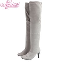 Wholesale Grey Long Boots For Women - Wholesale-Sexy High Heels Long Thigh High Boots For Women Autumn Winter Round Toe 2016 Womens Over The Knee Boots Fashion Large Size Boots