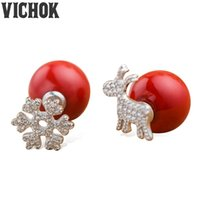 925 Sterling Silver Snow Deer Noël Femmes Bijoux Stud Earrings Statement Boucles d'oreilles pour femmes Fashion Fine Jewelry VICHOK