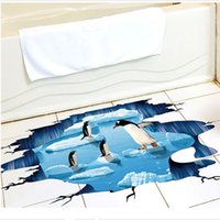 Wholesale Ice Age Pvc - New Creative 3D Cute Penguin Cartoon Floor Sticker Waterproof Ice Age Wall Stickers For Bathroom Kids Rooms Home Decor Art Mural