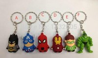 Wholesale new superman cartoons - New Superheros Avengers Spiderman Superman Batman Captain America Hulk 3D Keychains Action Figure Bag Pendant Keyrings Christmas Gift Y-01