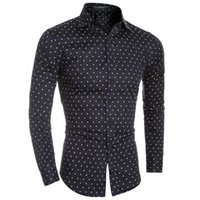 Wholesale Tiny Dresses - Wholesale- New 4 Color Fashion Tiny Planes Prints Mens Dress Shirts Long sleeve Slim Fit Casual Social Camisas Masculinas Man Chemise homme