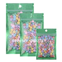 Wholesale Small Warehouses - UK USA warehouse 8.5x13CM 100pcs Green flat bottom matte Translucent aluminium foil Small Resealable plastic pouch zipper bag