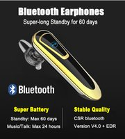 Wholesale Bluetooth Handsfree Headset A2dp - Super-Long Standby 60 days Bluetooth Earphones Headphones Wireless Sports Business Earbuds Clear Sound A2DP Headset Handsfree (GOLD COLOR)
